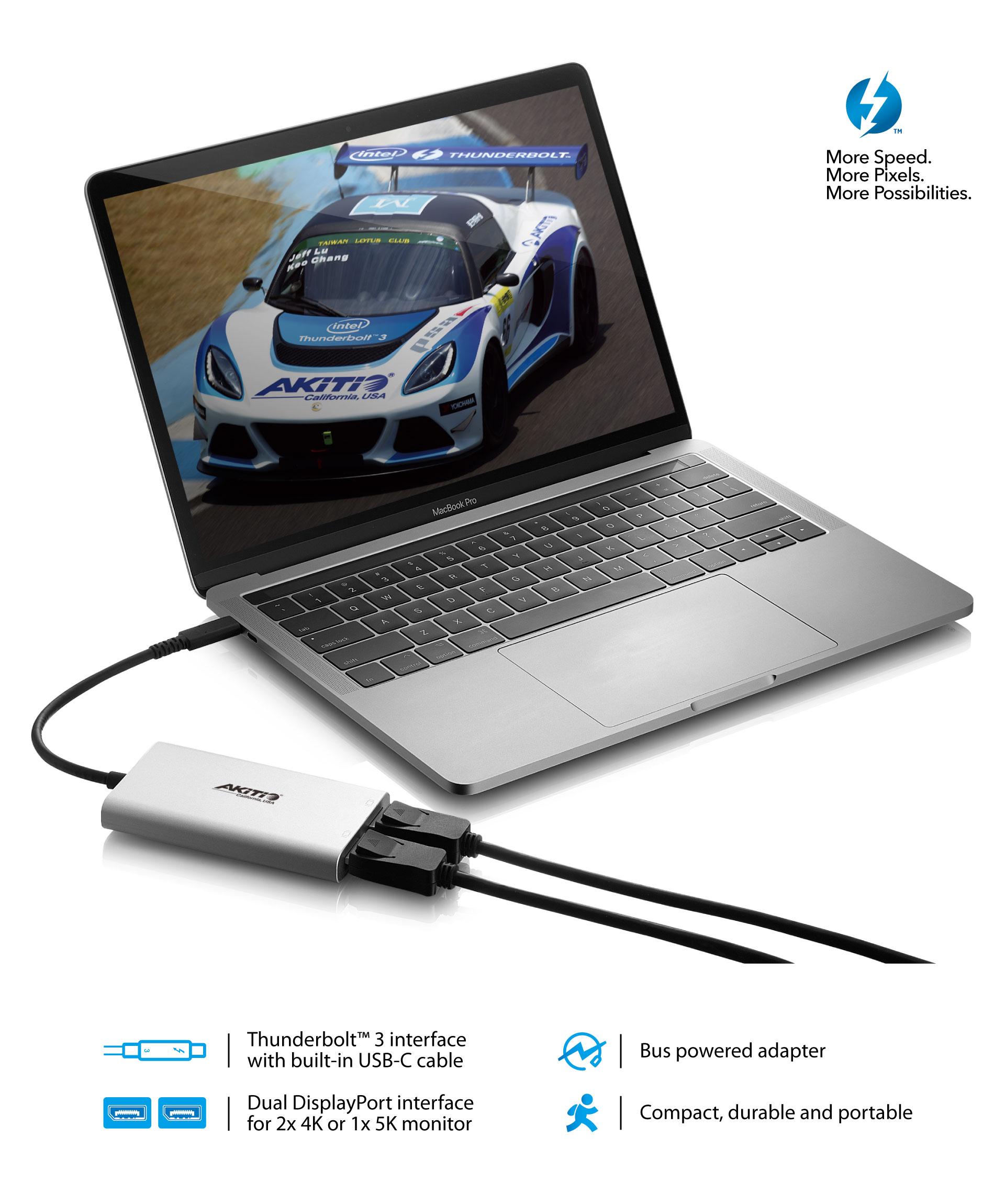 4K 60Hz OWC Thunderbolt 3 to Dual DisplayPort Adapter for Mac /& Windows