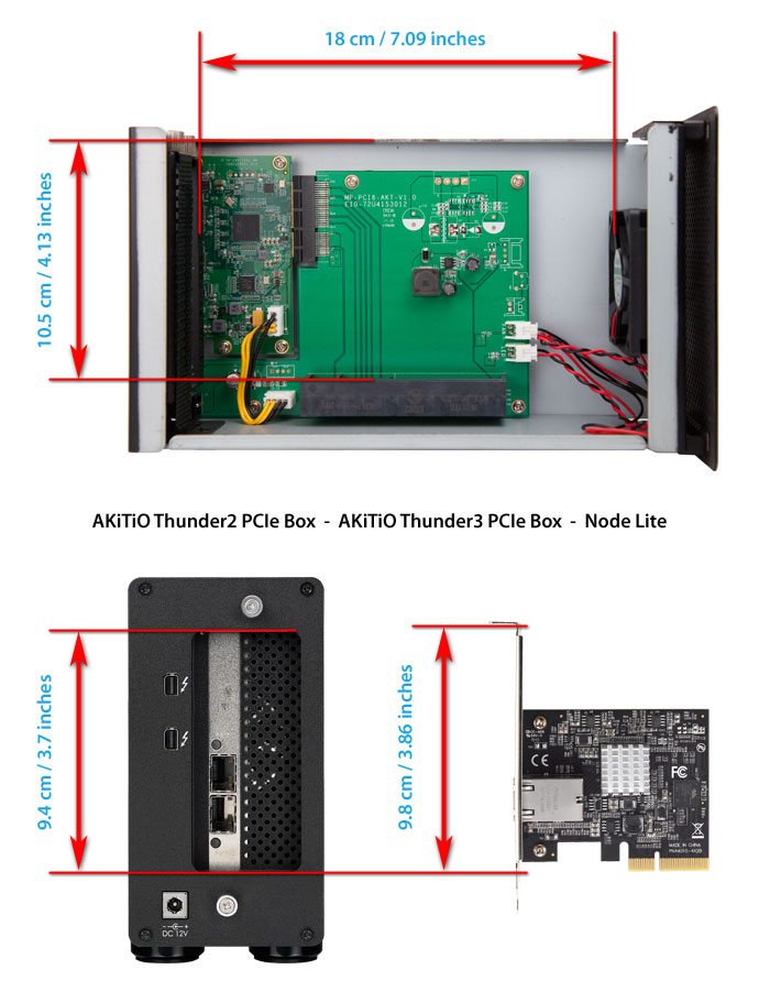 akitio thunder2 pcie box card dimensions